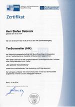 Zertifikat Teesommelier Stefan Dabrock
